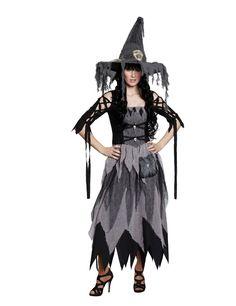 Hexe Gothic Totenköpfe Halloween Damenkostüm grau-schwarz
