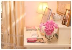 Girly Feminine Cute White & Pink Shabby Chic office desk