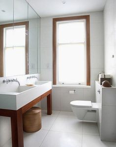 modern bath with open sink base