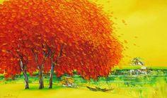 Orange trees in Summer by Vietnamese Artist Nguyen Minh Son
