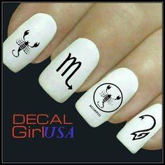 Scorpio Nail Art Decals 32 Scorpio Zodiac Nail by DecalGirlUSA, $3.85