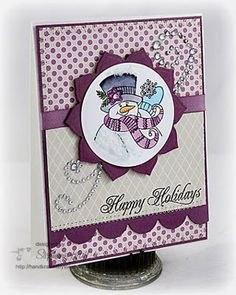 "JustRite Stampers:  JB 10000 Groovy Snowman  JB 09255 Christmas Nested Sentiments  JB 08117 3 1/4"" Round Stamper  JB 09520 Clear Horizontal Stamper  Dies:  Spellbinders Blossom 2, Classic Circles  Ink;  Memento Tuxedo Black, Copic Markers"