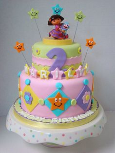 dora cake toppers walmart | Fiesta Dora birthday cake | Flickr - Photo Sharing!