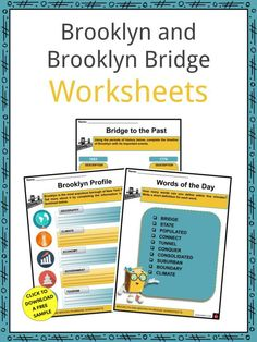 This is a fantastic bundle which includes everything you need to know about the Brooklyn and Brooklyn Bridge across 19 in-depth pages. These are ready-to-use Brooklyn and Brooklyn Bridge worksheets that are perfect for teaching students about the Brooklyn which is the most populous borough of New York City and the second most densely populated county in the United States. It occupies 81 square miles to the east of Manhattan, with an estimated 2,559,903 residents as of 2019. Manhattan Bridge, Brooklyn Bridge, Geography Worksheets, Williamsburg Bridge, Famous Bridges, Brooklyn Heights, History For Kids, Pin Pics, East River
