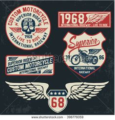 Motorcycle typography set, t-shirt graphics, vectors.