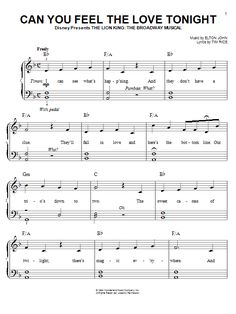 can you feel the love tonight easy piano pdf