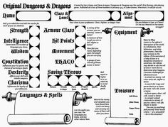 character sheet PDF form, Free download. Dungeons and
