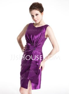 Cocktail Dresses - $119.99 - Sheath Scoop Neck Knee-Length Charmeuse Cocktail Dress With Ruffle Beading (016021266) http://jjshouse.com/Sheath-Scoop-Neck-Knee-Length-Charmeuse-Cocktail-Dress-With-Ruffle-Beading-016021266-g21266