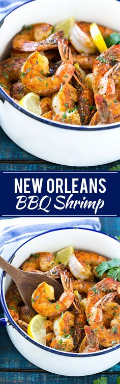"New Orleans BBQ shrimp Recipe! ""This recipe for New Orleans BBQ shrimp is tender and succulent shrimp cooked in a bold and zesty sauce - full of flavor and easy to make! Shrimp Recipes Easy, Cajun Recipes, Fish Recipes, Seafood Recipes, Dinner Recipes, Cooking Recipes, Haitian Recipes, Donut Recipes, Recipies"