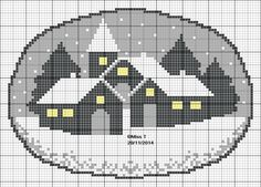 Douce nuit Cross Stitch House, Cute Cross Stitch, Cross Stitch Charts, Cross Stitch Patterns, Snow Scenes, Winter Scenes, Cross Stitching, Cross Stitch Embroidery, Plastic Canvas Christmas