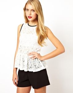 Image 1 of ASOS Soft Lace Peplum Top with Contrast Binding