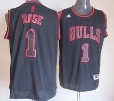 Adidas NBA Chicago Bulls 1 Derrick Rose New Revolution 30 Swingman Black Red Jersey
