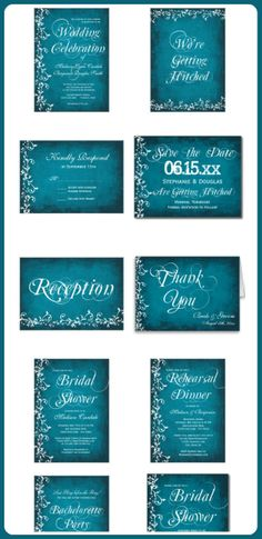 Rustic Country Distressed Blue Flourish Wedding Invitation Set | Rustic Wedding Invitations