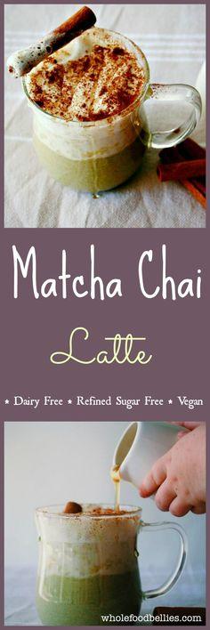 Green Tea Chai Spiced Latte. No refined sugar, dairy free, vegan, clean eating