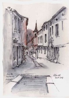 Allan Kirk Street Pictures, Pen And Wash, Pen And Watercolor, Architecture Drawings, Urban Sketching, Sketch Design, Home Art, Art Drawings, Anton Pieck
