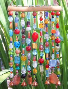 Glass Beaded Wind Chime - ( Windchime ) Sun Catcher on Mesquite with Bells
