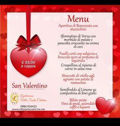 Menu san valentino 2021 Fusilli, Valentino, Menu, Santa, Menu Board Design