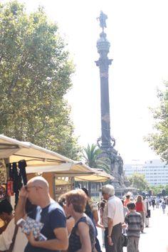 Barcelona, Catalunya, Spain - Looking down Las Ramblas to Monument a Colom