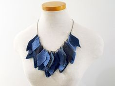DIY Denim Necklace.  This could be cute with fall colors in the shape of leaves maybe.