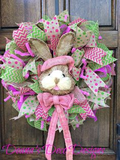 Easter Spring Bunny Deco Mesh Wreath by DeanasDecoDesigns on Etsy