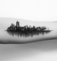 A very interesting tattoo with a strong message. On the one side there is a city, and on the other, a beautiful forest. Think about that.