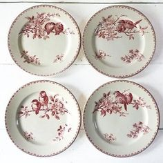 "Faience Red Transferware large  Dessert plates made by Sarreguemines - France ,  pattern "" Favori """