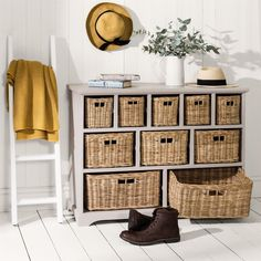 Tetbury Truffle Wide Storage Chest with Wicker Baskets - Hallway Storage - Hallway & Bathroom Storage Drawers, Chest Of Drawers, Storage Chest, Playroom Storage, Hallway Storage, Wicker Dresser, Kitchen Furniture, Wicker Baskets, Truffles