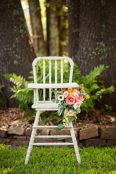 Highchair from a First Birthday Garden Party via Kara's Party Ideas | KarasPartyIdeas.com (38)