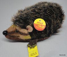 #Steiff Joggi #Hedgehog Lying Spikey Mohair & Dralon Plush ID Button Tags 10cm 4in   eBay