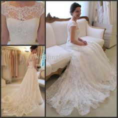 Line Wedding Dresses Hot Sale Charming Bateau Neck Lace Wedding Dresses A Line Cap Sleeves Bridal Gowns With Sash Bow Sweep Train Custom Made Plus Size Princess Line Wedding Dresses From Weddingfactory, $183.25| Dhgate.Com @Kellie