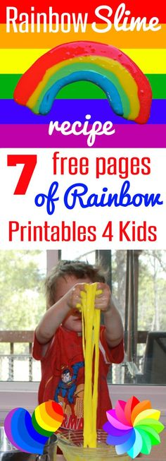 Great kids activity! Rainbow Slime Recipe with 7 Free Pages of Rainbow printables for kids can also be used as rainbow placemats, play doh mats, or even with write-on, wipe-off markers for preschoolers through second grade from HappyandBlessedHome.com Free Rainbow Worksheets | Free Rainbow Handouts | Slime Recipe | Kids Activities | Preschool Learning | Kindergarten Activity