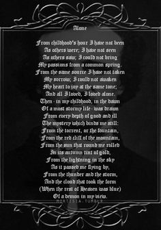 """Aloneby Edgar Allan Poe """"Alone"""" is a 22-line poem, originally written in 1829 and left untitled and unpublished during Poe's lifetime..."""