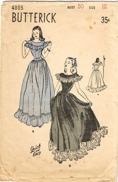 "Vintage Misses Evening Gown Pattern ORIGINAL Vintage Sewing Pattern Butterick Pattern 4005 Dated 1946 Complete Nice Condition Unprinted Pattern Pieces Size 12 (30"" Bust)"