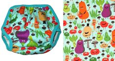 """Name: Edgy Veggie  Fabric & Designer: Edgy Veggie from Michael Miller  Cover Type: Classic, Universal  Sizes Produced: XS-XL, S & L also Universal """"M""""    Did you know? This print was also available in a 3rd size: """"m"""" while we were tweaking our sizing.  Visit GEN-Y for more cloth diaper covers!"""