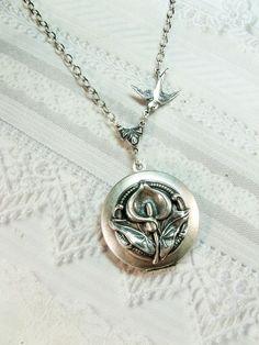 Silver Locket Necklace  Silver Calla Lily Locket