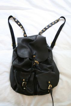 Leather Black Backpack With Buckle | Canvas Bag | Pinterest ...