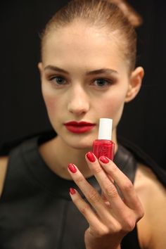 The Nail Polishes Everyone Will Be Wearing Next Spring as seen at NYFW; It doesn't get anymore sophisticated than the matching red nails and lips at Carolina Herrera's Spring 2015 show.