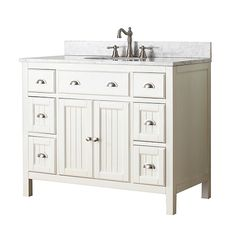 The Avanity HAMILTON-V Hamilton 42 in. Single Bathroom Vanity - French White makes a handsome focal point to your master bathroom design scheme. Zen Bathroom Design, Bathroom Tile Designs, Bathroom Styling, Modern Bathroom, Small Bathroom, Beige Bathroom, Boho Bathroom, French Bathroom, Victorian Bathroom
