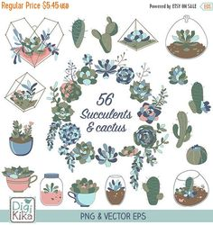 70% SALE Succulents Clip Art  Hand Drawn Succulents by DigiKika