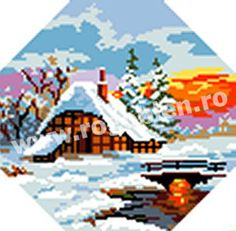 Cod produs Iarna Culori: 17 Dimensiune: 10 x Pret: lei Cod, Flag, Printable, Country, Prints, Embroidery, Rural Area, Cod Fish, Science