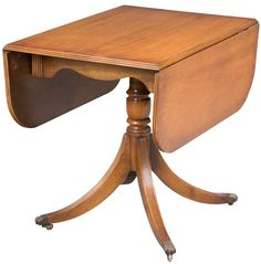 Antique Pedestal Drop Leaf Table