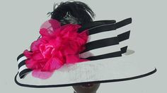 A Grand Hat in Black & White - with a Hot Pink Flower by HatTrix on Etsy Hot Pink Shoes, Hot Pink Flowers, Perfect Angle, Hat Sizes, Simple Dresses, Simple Style, Grosgrain, Black And White, Hats