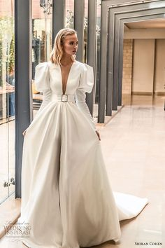 shiran cohen 2019 bridal mutton sleeves plunging v neckline collar belt a line b. - - shiran cohen 2019 bridal mutton sleeves plunging v neckline collar belt a line ball gown wedding dress chapel train romantic princess clean modern Country Wedding Dresses, Dream Wedding Dresses, Bridal Dresses, Gown Wedding, Modest Wedding, Hair Wedding, Trendy Wedding, Pretty Dresses, Beautiful Dresses