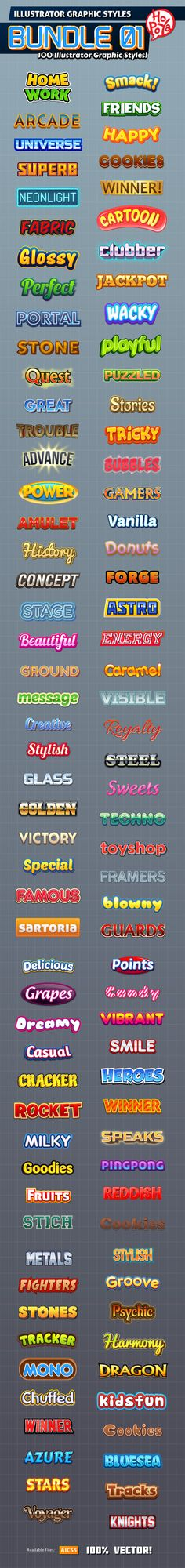 100 Illustrator Graphic Styles Bundle 01 - Styles Illustrator