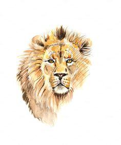 Lion watercolor portrait painting