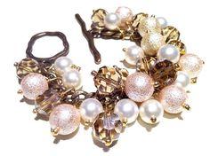 GLASS PEARL CLUSTER Bracelet Heavenly Cha by SweetCarolineCreatio. $35.00, via Etsy.