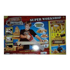 Real Construction Super Workshop ~ 130+ Pieces! by Jakks. $59.00. Real Construction Super Workshop is an exciting new tool based construcitn kit including tools and kid wood. Kid wood is soft material allowing kids to saw, nail , screw and build anything they can imagine. Complete building kit includes over 130 pieces. Hand saw, hammer, hole cutter handle, bores, detail saw, square, screwdriver, level, miter saw, tool box, tape measure, 50 screws, 50 nails, hinges, miter box, K...