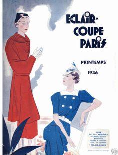 1936 Spring Eclair Coupe Paris Pattern Book Reprint Suits Dresses | eBay