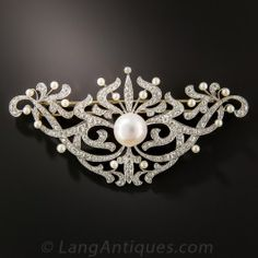 Giant Edwardian Diamond and Pearl Stomacher Brooch - Edwardian Jewelry - Vintage Jewelry