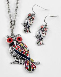 "Burnished silver-tone owl pendant, with multi-color epoxy & rhinestone details 18"" necklace 2.25"" pendant"